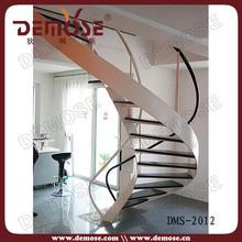 luxury wood stairs /indoor steel plate stair