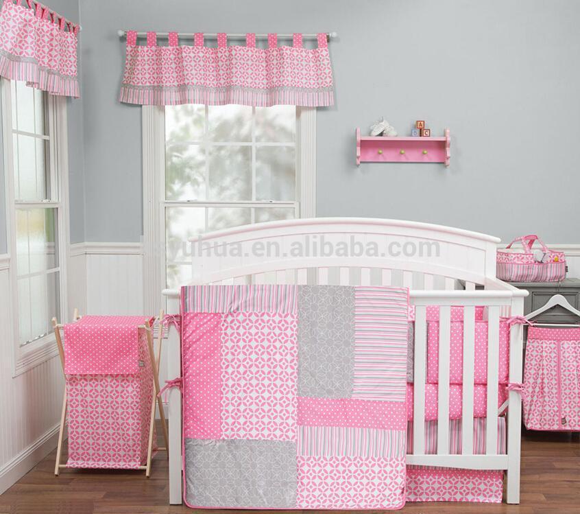 Baby girl pink gray modern contemporary geometric crib nursery quilt bedding set view crib - Modern baby girl crib bedding ...