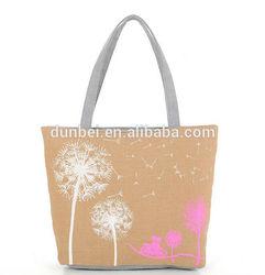 New hot women's bag 2015 china Fashion khaki printed dandelion Canvas hand bag