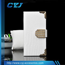 Luxury pu leather case for iphone 6 with diamond Magnet