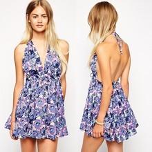 2015 european fashion swimsuit skirt rose floral print halter girls beach dress
