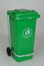 China Dustbin 100L Green Outdoor Pedaled Waste Bin With Wheels,100L Trash Bin With Pedal