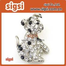 Cute dog Metal fashion acrylic crystal rhinestone brooch for children
