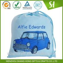 Factory Price personalised blue mini large blue cotton drawstring bag