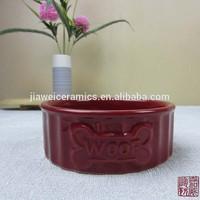 Hot sale wholesale red ceramic dog bowl