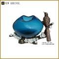 Vp-1447 cristal venta al por mayor de la flor florero azul con animal de la resina decoración del hogar florero