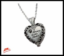 Pewter and Brass Cremation Heart necklace Pendant - Pets