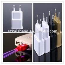 OEM US EU plug white black gold logo printing portable dual usb 5v 1500ma charger with cable