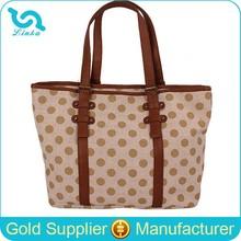 Korean Style Khaki Polka Dot Canvas Tote Bag Leather Handle/Canvas Tote Bag