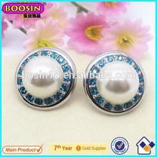 Wholesale Elegant Silver Plated Pearl Stud Earrings/Pearl Earrings Jewelry For Party#22294