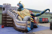 Amazing Commercial Outdoor Dragon themed inflatable water slide for kids and adults
