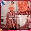 pluma de avestruz falda corta frente y la espalda a largo vestido de novia color ocre y gris blusa de cuentas