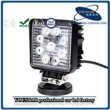 "4"" square off road 4x4 27w led lamp jeep utv led light with CE ROHS"