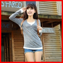 Free shipping FR33 spring new hit color stitching fake two-piece knit t-shirt was thin minimalist student autumn