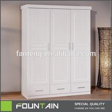 Hot Sale Home Funiture Clothes Storage Furniture 3 Doors White Wooden Wardrobe Furniture