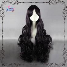 100cm Nostradamus black purple deep curly cosplay wigs