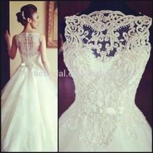 2015 Top Class Scoop Neck Wedding Dresse Appliqued Beaded Description Of Wedding Dress