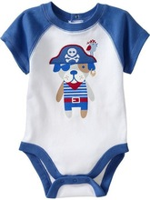 2015 Latest Designs Newborn Baby Clothes Fashion Cotton Printed Rompers With Merrow Stitch