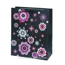 2014 new design flower print shopping gift art paper bags