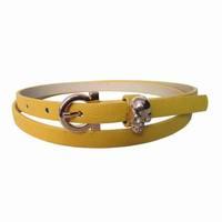 Ladies fashion PU skinny belt with metal skull on the belt keeper