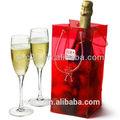 Baixo custo de pvc transparente de plástico sacos de gelo para uso diversos, claro saco refrigerador de vinho