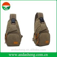 2015 new leather augur canvas bags chest pack messenger bag khaki