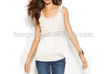 The Lastest Lady's White Crochet Fringe Sleeveless Top HSD9161