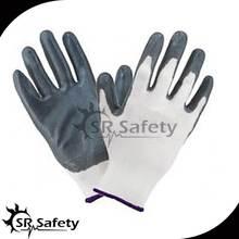 SRSAFETY 13g grey nylon liner coated 6 mil black nitrile gloves/nitrile glove manufacturers