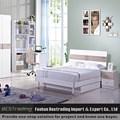 Placa de MDF adolescente moderna camas barato cama de casal com armazenamento