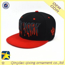 NEW YORK printed brim black hip hop flat cap with embroidery logo
