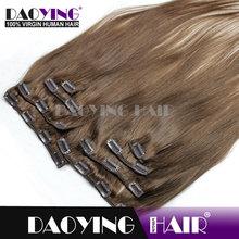 malaysian virgin hair Medium Brown(#4)clip in hair, magnetic hair clip