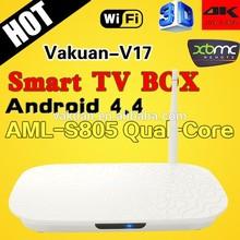 Quad core Amlogic s805 android 4.4.2 tv box support 3D, XBMC, Hotspot H.265 Amlogic internet tv box