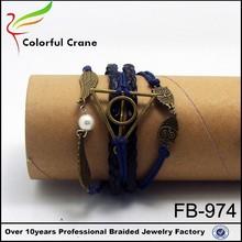 hot sale diy beautiful friendship bracelets diy custom leather cord string bracelet