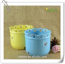 Wavy lines ceramic flower pot & planter