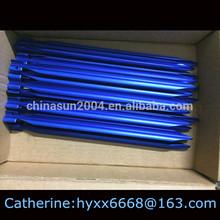 Blue aluminium tent peg