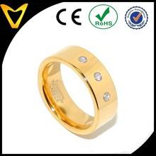 Fashion Tungsten Carbide Ring Wholesale, Tungsten Carbide Gold IP Mens Wedding Ring w3 Clear CZs