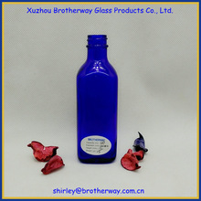 120ml cobalt blue square glass water bottle