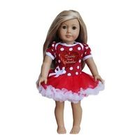 "18"" American Girl Doll Daddy is my Valentine Heart Red Polka Dots Party Dress"