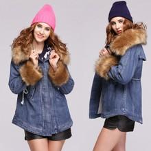 Hot!! Fashion Women's Long Coat Winter Big Fur Collar Warm Outerwear Coat SV010917 #