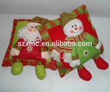 Christmas kids hugging toy applique plush santa and snow man cushion