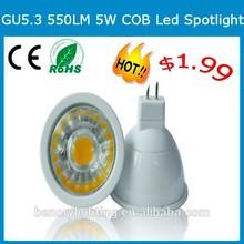 550 lumen 5w mr16 led bulb,12v 5w gu5.3 led mr16 dimmable cob spotlight led lights 12 v mr 16.
