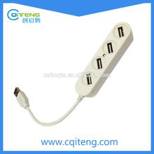 White Mini 4-Port USB HUB 2.0 For Flash and Mobile