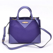 Purple Pu Leather Ladies Satchel Tote Bags with Expandable Zipper Sides