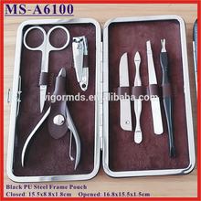 (MS-A6100) 7 PCS Black PU Steel Frame Pouch Manicure & Pedicure Set