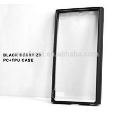 Hot TPU+PC case for Blackberry BB Z3 Black border and Transparent case back for Blackberry BB z3