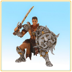 Custom good quality resin greek mythology hesperides action figure apollo with sword and shiled figurine