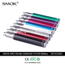2015 best adjustable voltage ego battery vaporizer 3.2-4.8V/4-12W vv vw ego battery 2000mah
