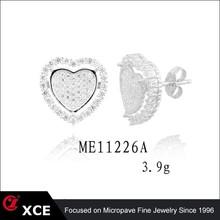 love heart 925 sterling silver earrings