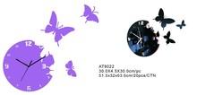 Mirror Wall Decor Clocks/Removable Butterfly Wall Clocks/Mounted Alarm Wall Clocks