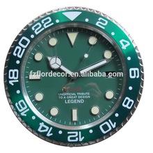 Metal wall clock promotional 14 inch green metal wall clock watch design decoration wall clock